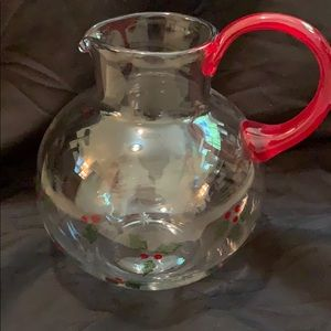 Dining - Blown Glass Holiday Juice Pitcher